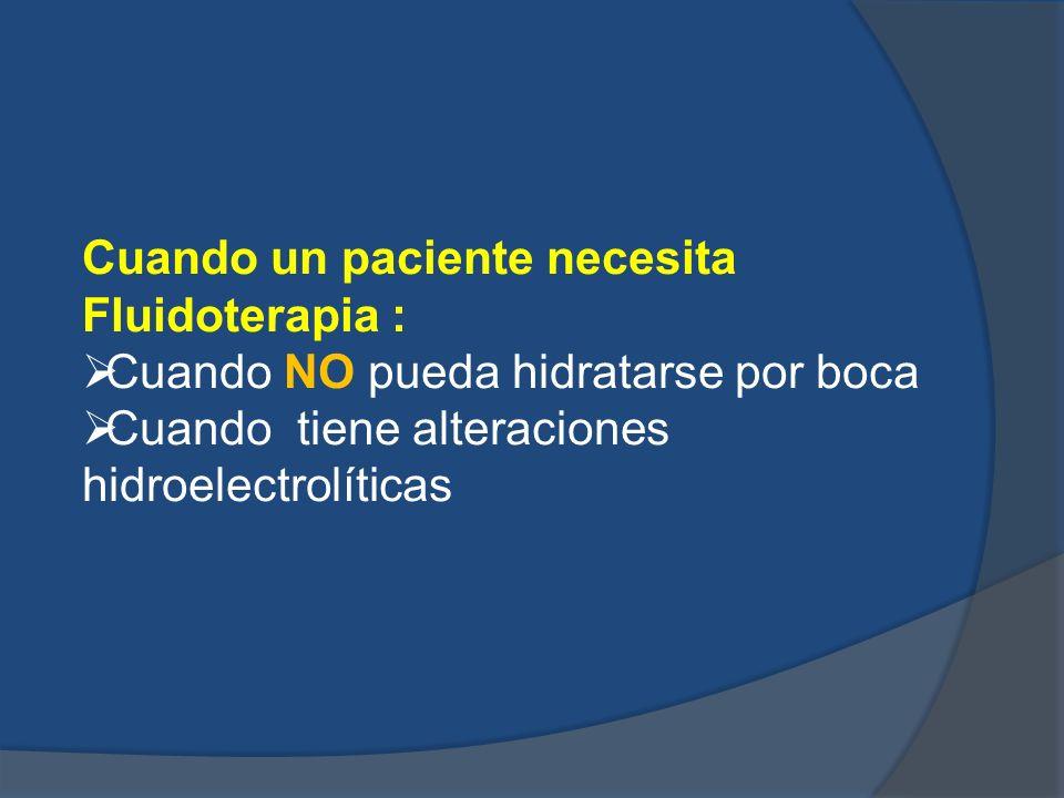 Cuando un paciente necesita Fluidoterapia : Cuando NO pueda hidratarse por boca Cuando tiene alteraciones hidroelectrolíticas