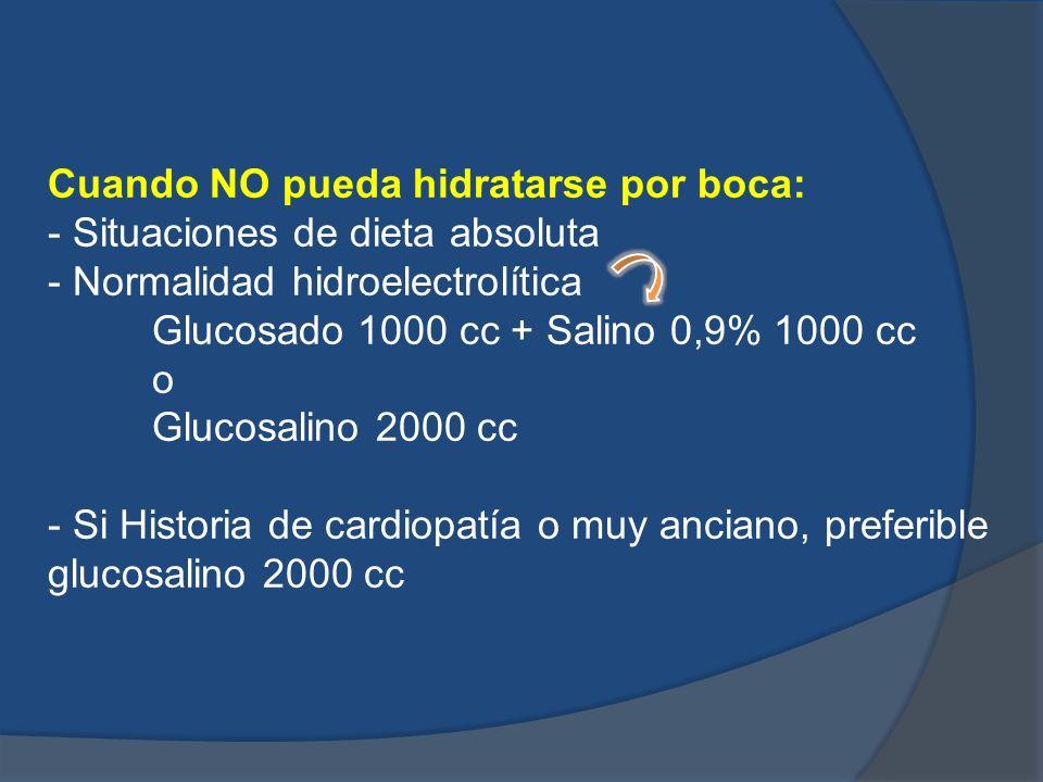 Cuando NO pueda hidratarse por boca: - Situaciones de dieta absoluta - Normalidad hidroelectrolítica Glucosado 1000 cc + Salino 0,9% 1000 cc o Glucosa
