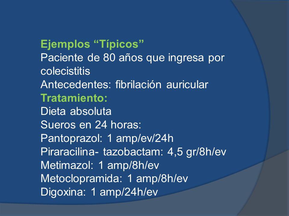 Ejemplos Típicos Paciente de 80 años que ingresa por colecistitis Antecedentes: fibrilación auricular Tratamiento: Dieta absoluta Sueros en 24 horas: