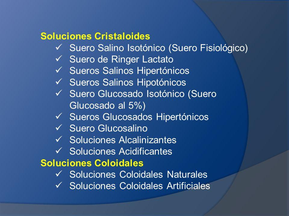 Soluciones Cristaloides Suero Salino Isotónico (Suero Fisiológico) Suero de Ringer Lactato Sueros Salinos Hipertónicos Sueros Salinos Hipotónicos Suer