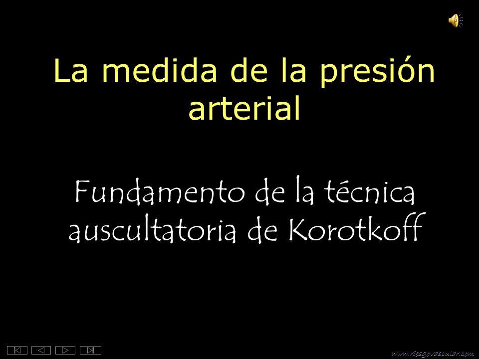 www.riesgovascular.com La medida de la presión arterial Fundamento de la técnica auscultatoria de Korotkoff