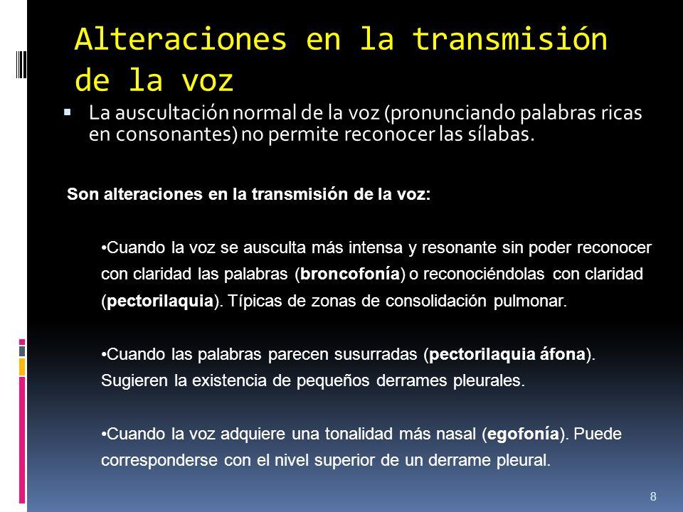 Alteraciones en la transmisión de la voz La auscultación normal de la voz (pronunciando palabras ricas en consonantes) no permite reconocer las sílaba