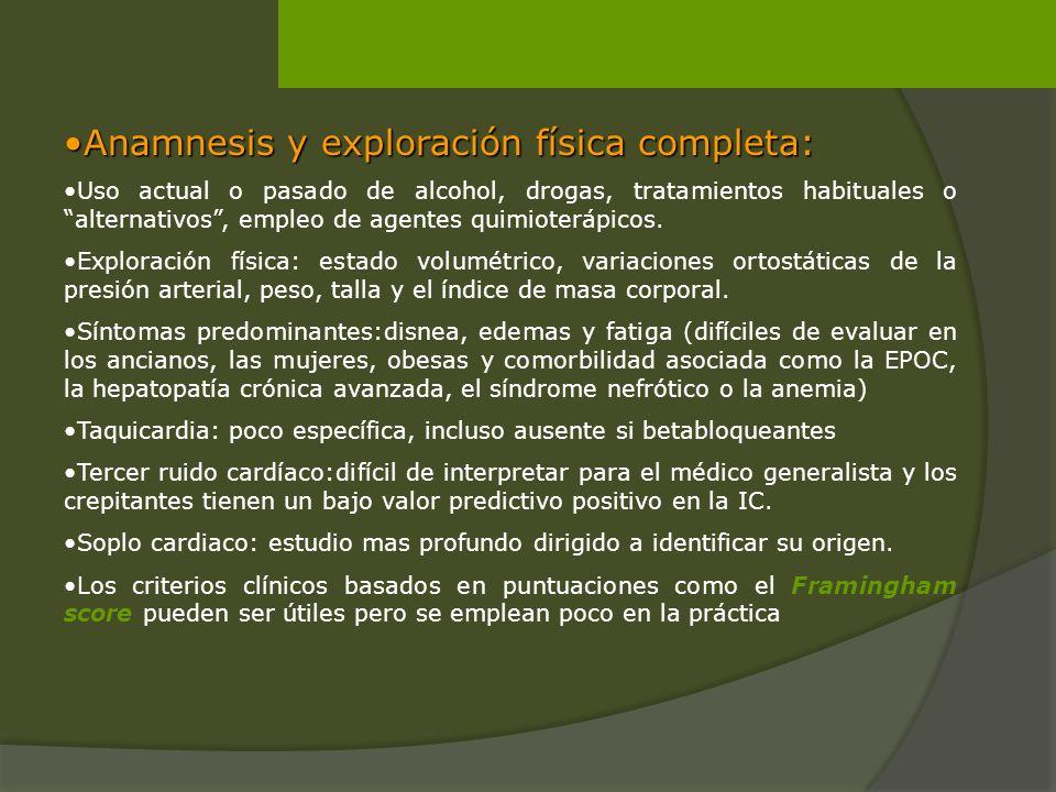 Anamnesis y exploración física completa:Anamnesis y exploración física completa: Uso actual o pasado de alcohol, drogas, tratamientos habituales o alt