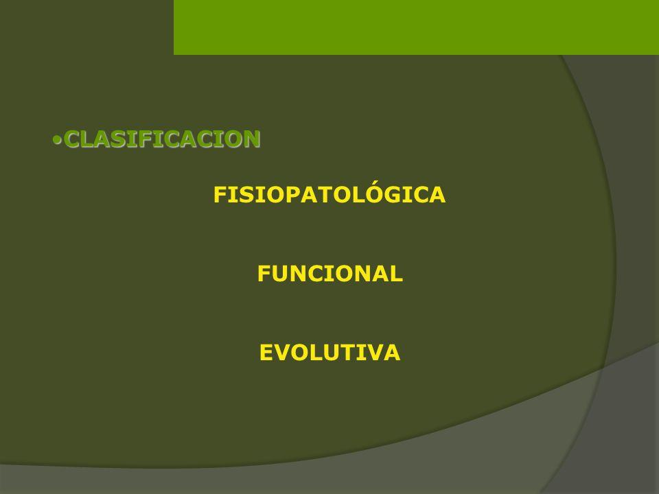 CLASIFICACIONCLASIFICACION FISIOPATOLÓGICA FUNCIONAL EVOLUTIVA
