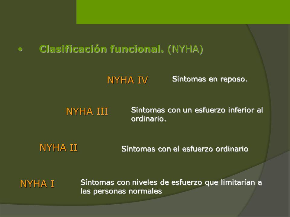 Clasificación funcional. (NYHA) Clasificación funcional. (NYHA) NYHA I Síntomas con niveles de esfuerzo que limitarían a las personas normales Síntoma