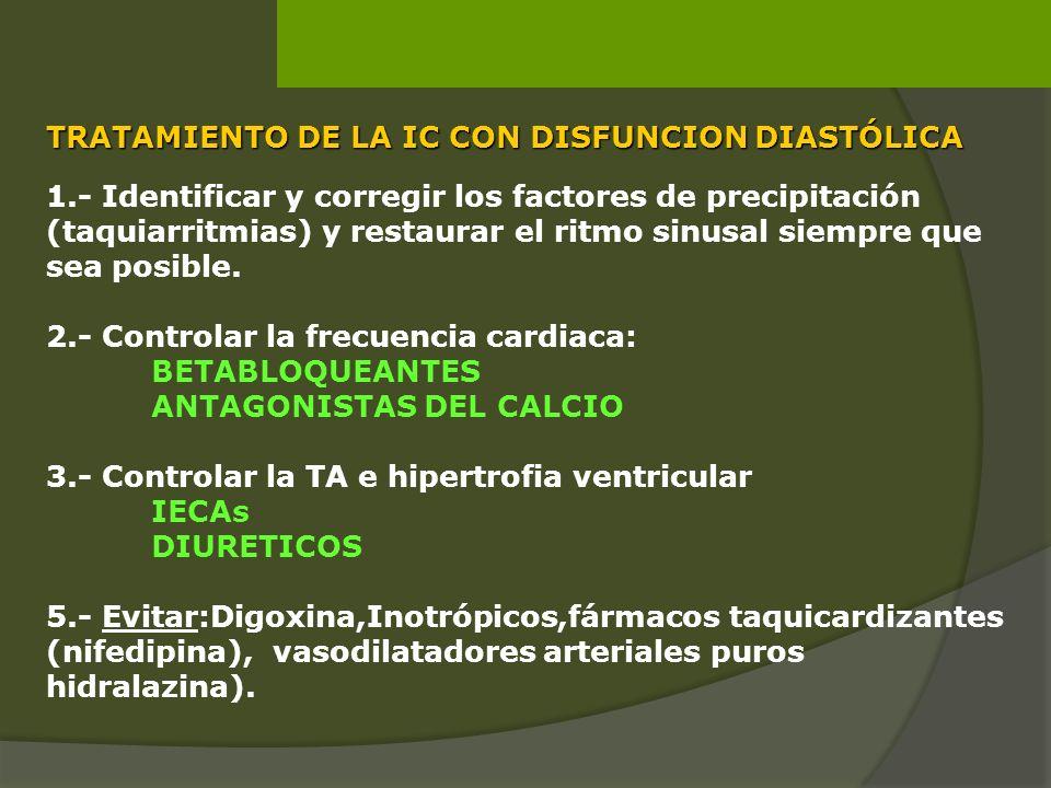 1.- Identificar y corregir los factores de precipitación (taquiarritmias) y restaurar el ritmo sinusal siempre que sea posible. 2.- Controlar la frecu
