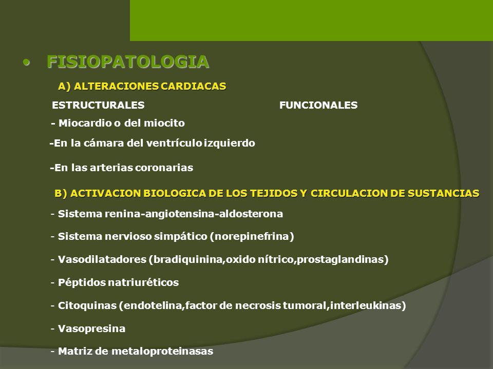 FISIOPATOLOGIAFISIOPATOLOGIA A) ALTERACIONES CARDIACAS ESTRUCTURALESFUNCIONALES - Miocardio o del miocito -En la cámara del ventrículo izquierdo -En l