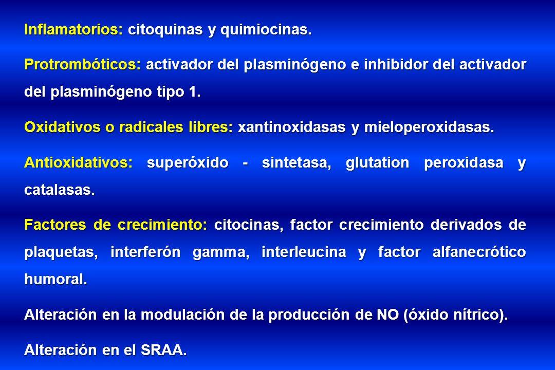 Inflamatorios: citoquinas y quimiocinas. Protrombóticos: activador del plasminógeno e inhibidor del activador del plasminógeno tipo 1. Oxidativos o ra