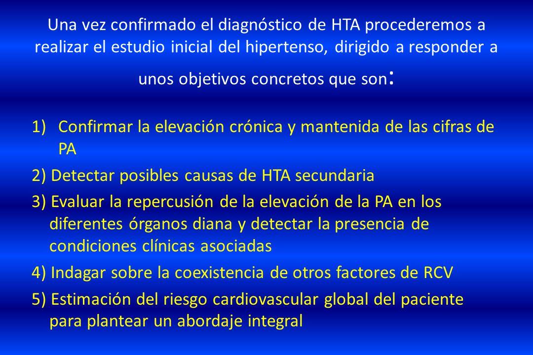 Una vez confirmado el diagnóstico de HTA procederemos a realizar el estudio inicial del hipertenso, dirigido a responder a unos objetivos concretos qu