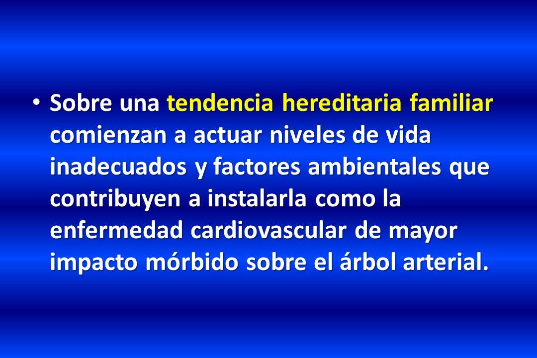JNC 7 Historia Natural de la Hipertensión Primaria no Tratada Un esquema simplificado de la historia natural de la hipertensión primaria no tratada HERENCIA - AMBIENTE PRE - HIPERTENSIÓN HIPERTENSIÓN TEMPRANA HIPERTENSIÓN ESTABLECIDA Curso Acelerado Maligno CARDIACA Hipertrofia Insufic.