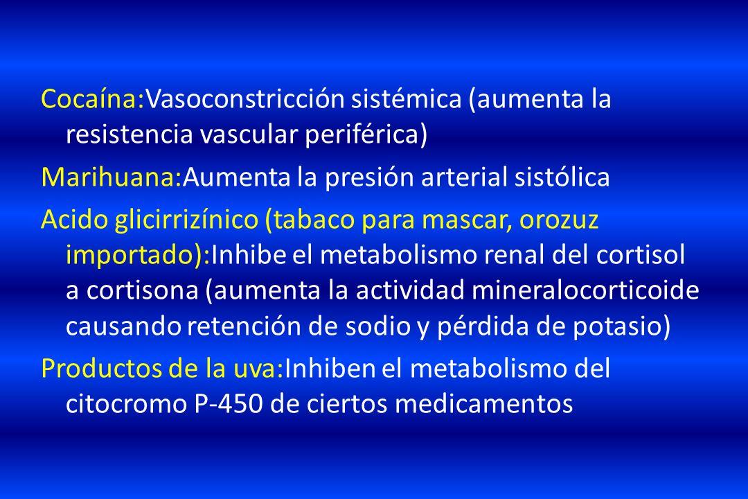 Cocaína:Vasoconstricción sistémica (aumenta la resistencia vascular periférica) Marihuana:Aumenta la presión arterial sistólica Acido glicirrizínico (