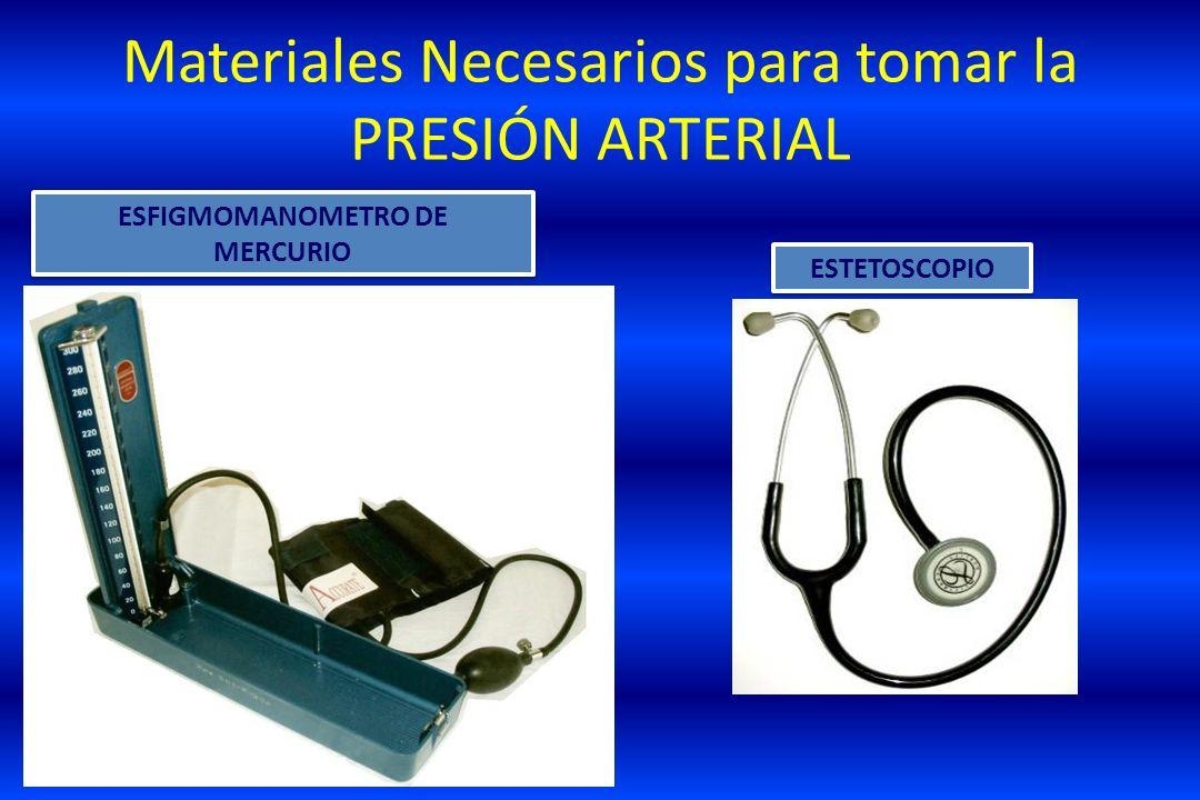 Materiales Necesarios para tomar la PRESIÓN ARTERIAL ESFIGMOMANOMETRO DE MERCURIO ESFIGMOMANOMETRO DE MERCURIO ESTETOSCOPIO