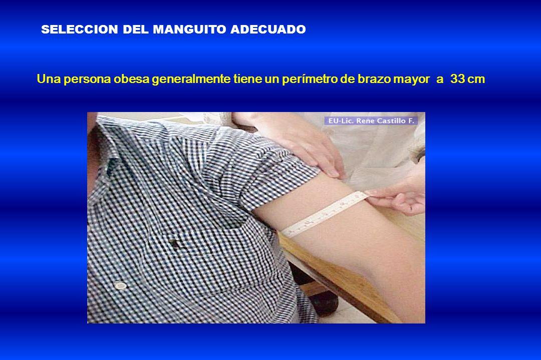 Una persona obesa generalmente tiene un perímetro de brazo mayor a 33 cm SELECCION DEL MANGUITO ADECUADO
