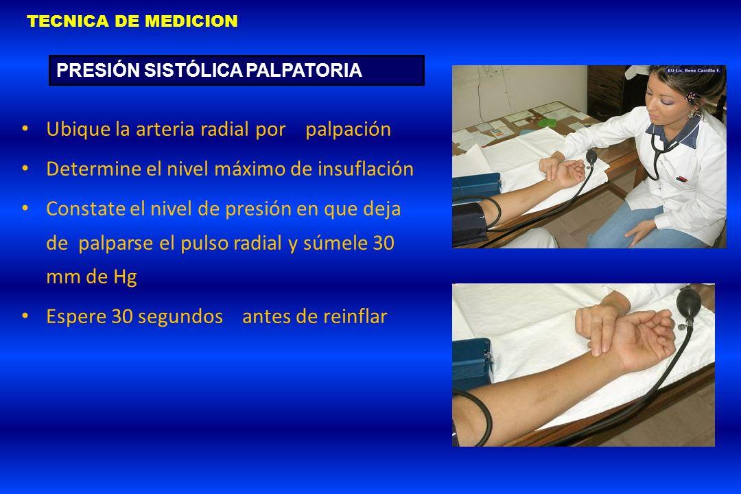 Ubique la arteria radial por palpación Determine el nivel máximo de insuflación Constate el nivel de presión en que deja de palparse el pulso radial y
