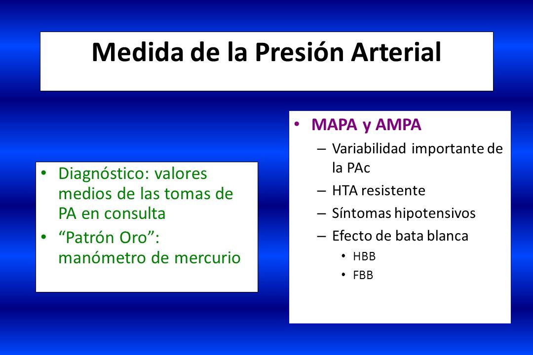 Medida de la Presión Arterial Diagnóstico: valores medios de las tomas de PA en consulta Patrón Oro: manómetro de mercurio MAPA y AMPA – Variabilidad