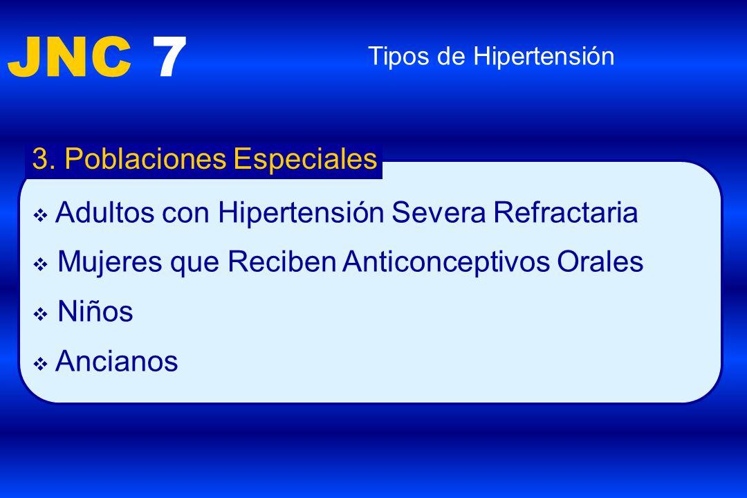 JNC 7 Tipos de Hipertensión 3. Poblaciones Especiales Adultos con Hipertensión Severa Refractaria Mujeres que Reciben Anticonceptivos Orales Niños Anc