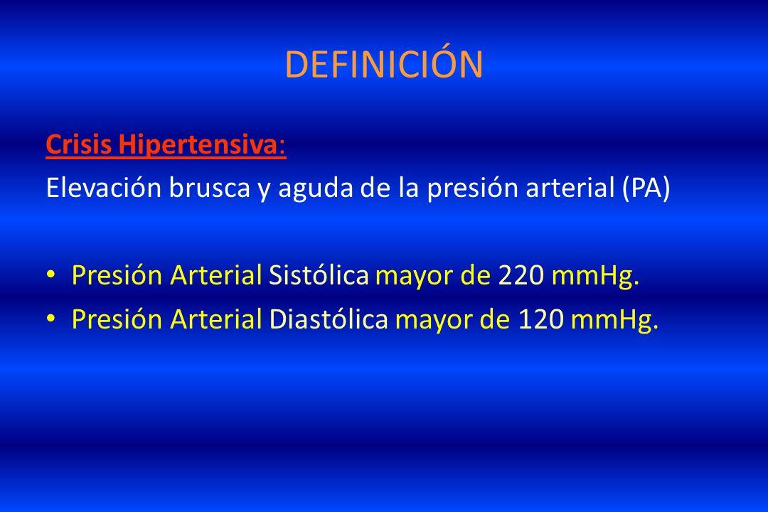 DEFINICIÓN Crisis Hipertensiva: Elevación brusca y aguda de la presión arterial (PA) Presión Arterial Sistólica mayor de 220 mmHg. Presión Arterial Di