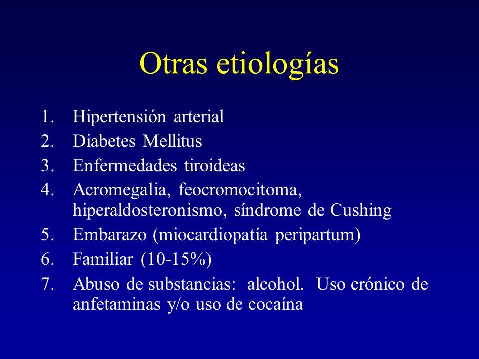 Otras etiologías 1.Hipertensión arterial 2.Diabetes Mellitus 3.Enfermedades tiroideas 4.Acromegalia, feocromocitoma, hiperaldosteronismo, síndrome de