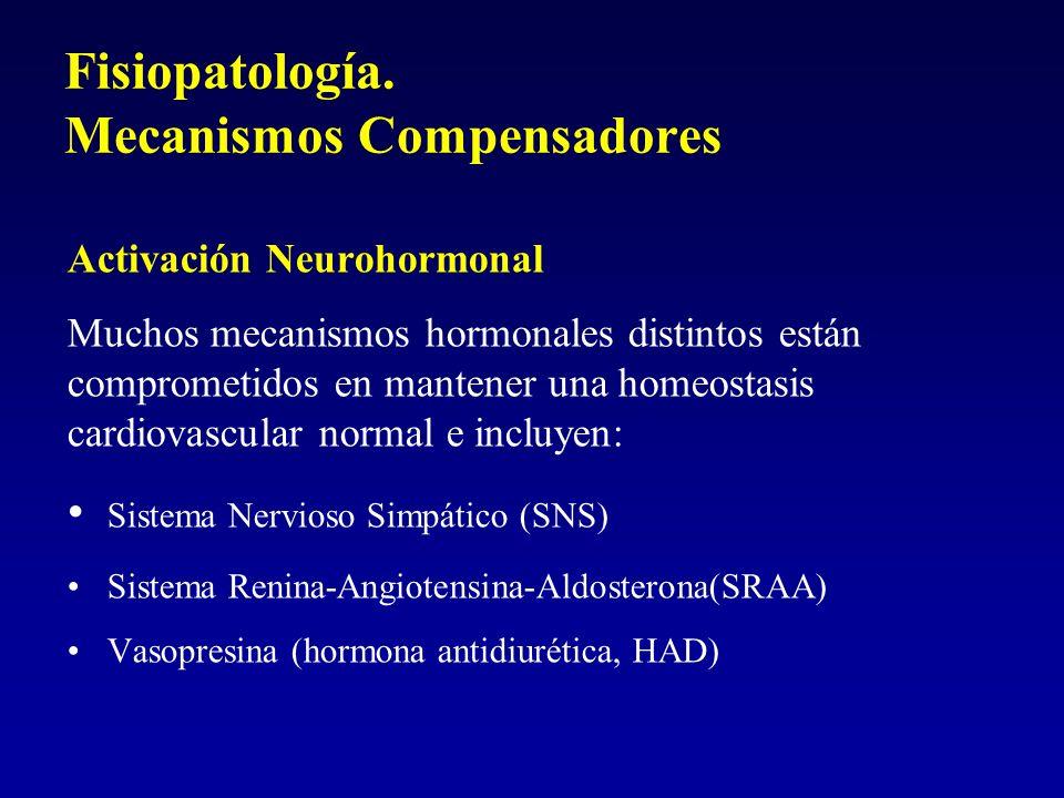 Fisiopatología. Mecanismos Compensadores Activación Neurohormonal Muchos mecanismos hormonales distintos están comprometidos en mantener una homeostas