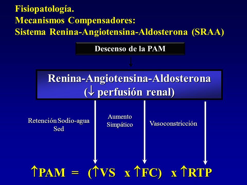 PAM = ( VS x FC) x RTP PAM = ( VS x FC) x RTP Renina-Angiotensina-Aldosterona ( perfusión renal) Retención Sodio-agua Sed AumentoSimpático Vasoconstri