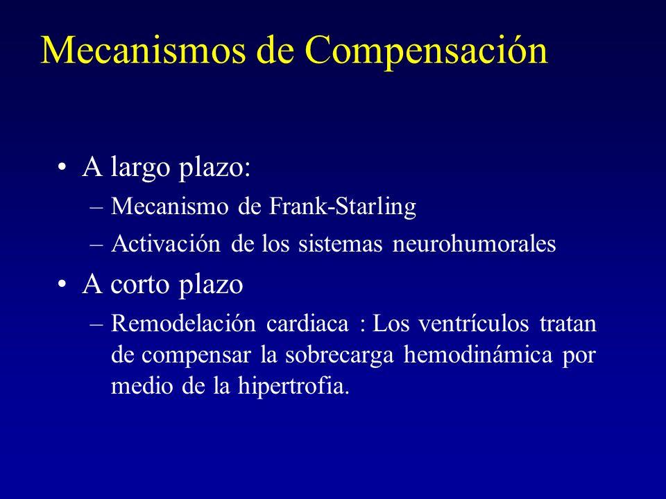 Mecanismos de Compensación A largo plazo: –Mecanismo de Frank-Starling –Activación de los sistemas neurohumorales A corto plazo –Remodelación cardiaca