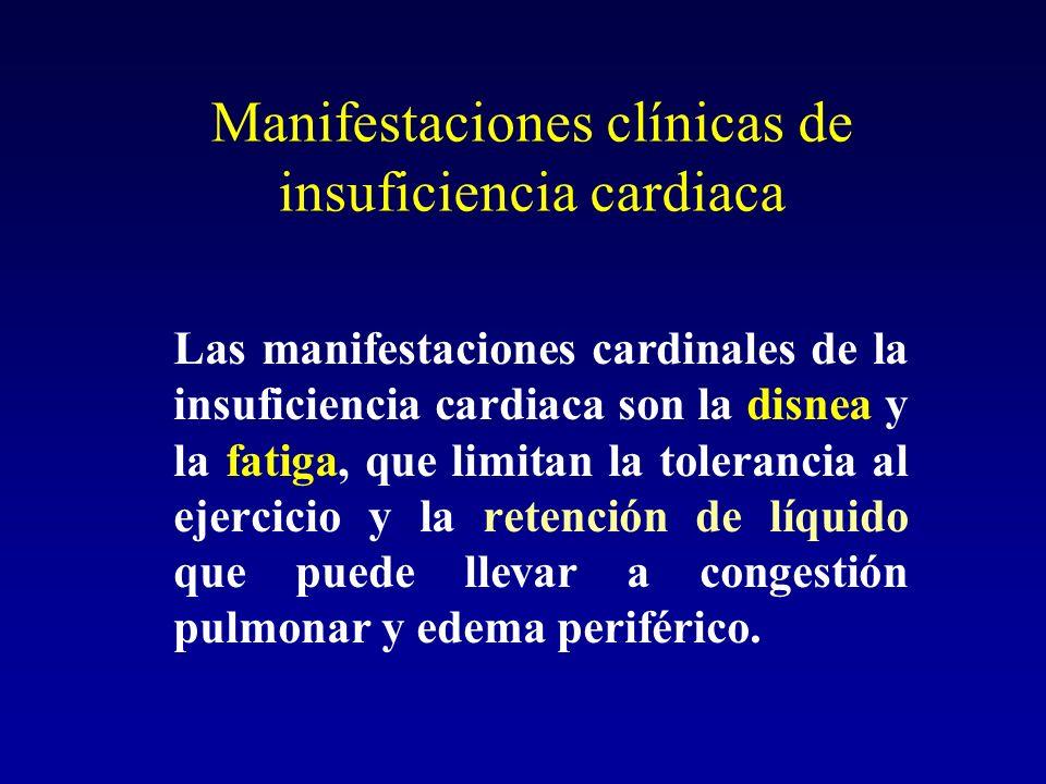 Manifestaciones clínicas de insuficiencia cardiaca Las manifestaciones cardinales de la insuficiencia cardiaca son la disnea y la fatiga, que limitan