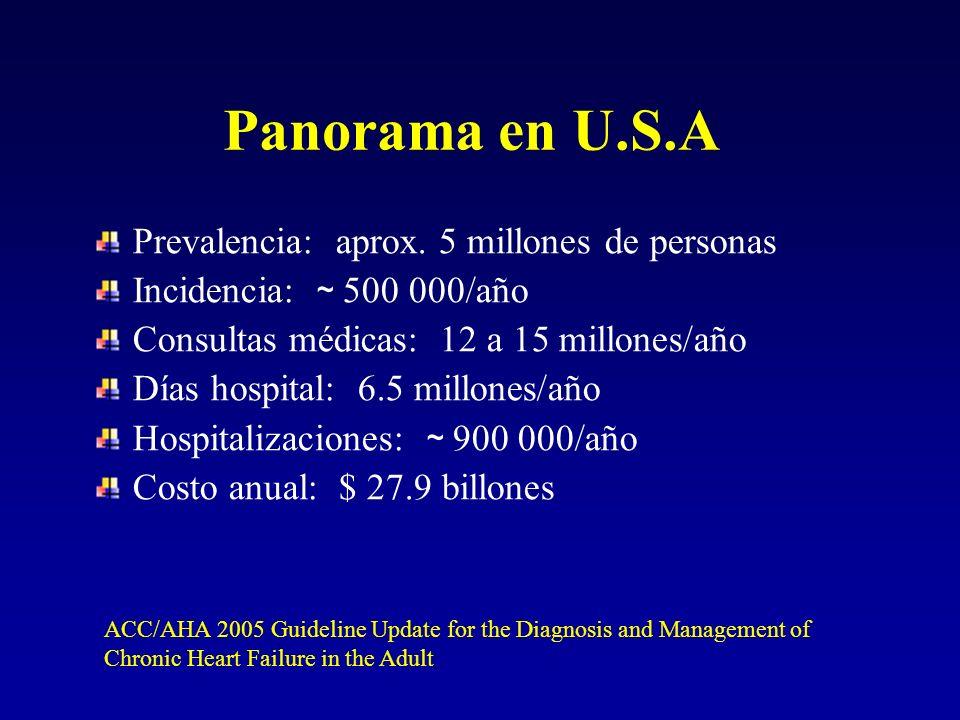 Panorama en U.S.A Prevalencia: aprox. 5 millones de personas Incidencia: ~ 500 000/año Consultas médicas: 12 a 15 millones/año Días hospital: 6.5 mill