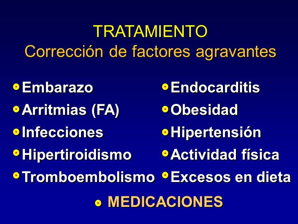 TRATAMIENTO Corrección de factores agravantes TRATAMIENTO Corrección de factores agravantes MEDICACIONES Endocarditis Obesidad Hipertensión Actividad