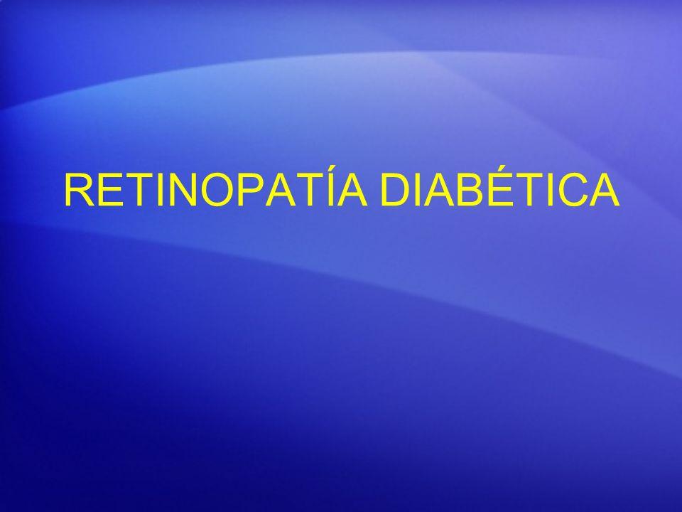 RD de Fondo Edema macular Causa más frecuente de ceguera en DM Salida de líquidos a partir de capilares alterados Formas de presentación: Edema focal-difuso Edema Agudo: múltiples interfases (dispersión de luz) y disminución de la transparencia retina.