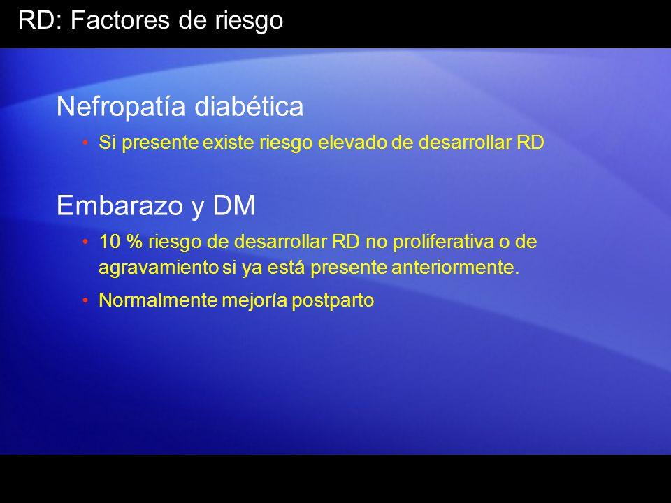 RD: Factores de riesgo Nefropatía diabética Si presente existe riesgo elevado de desarrollar RD Embarazo y DM 10 % riesgo de desarrollar RD no prolife
