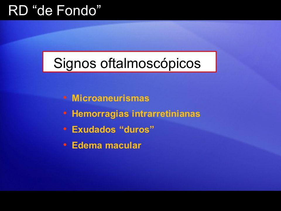 RD de Fondo Signos oftalmoscópicos Microaneurismas Hemorragias intrarretinianas Exudados duros Edema macular
