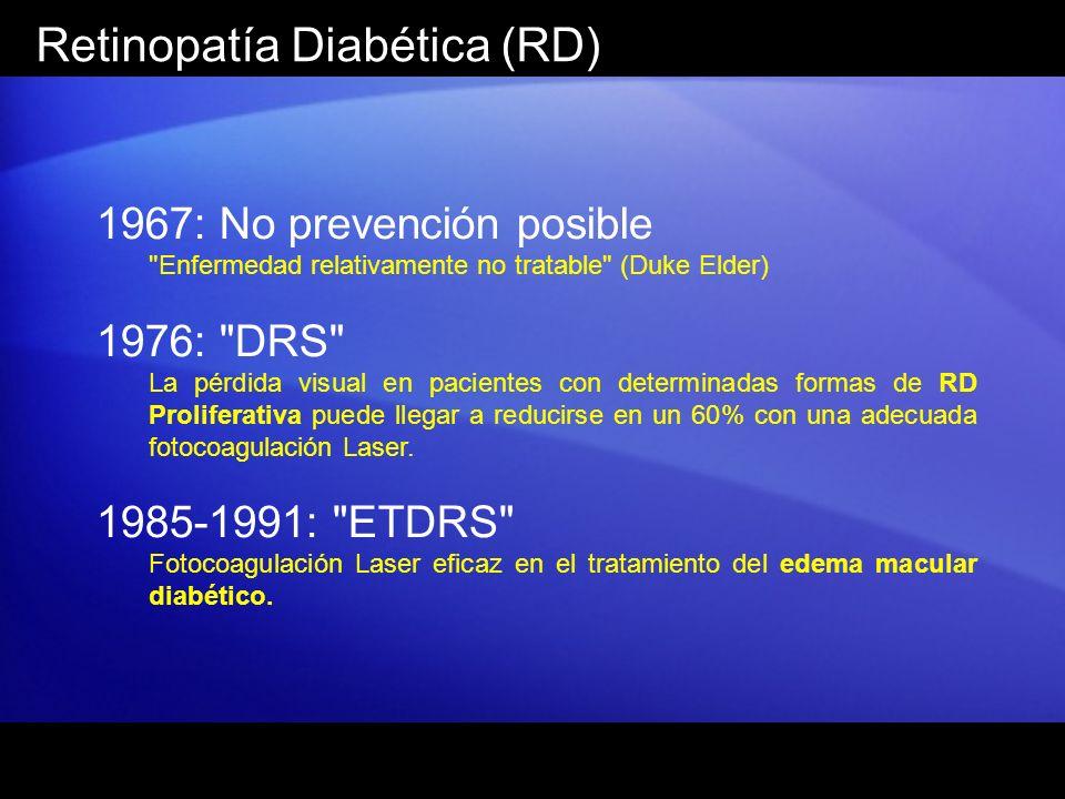 Retinopatía Diabética (RD) 1967: No prevención posible