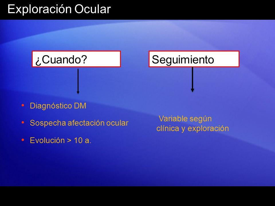 Exploración Ocular ¿Cuando? Diagnóstico DM Sospecha afectación ocular Evolución > 10 a. Seguimiento Variable según clínica y exploración