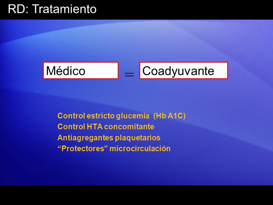 RD: Tratamiento Médico = Coadyuvante Control estricto glucemia (Hb A1C) Control HTA concomitante Antiagregantes plaquetarios Protectores microcirculac