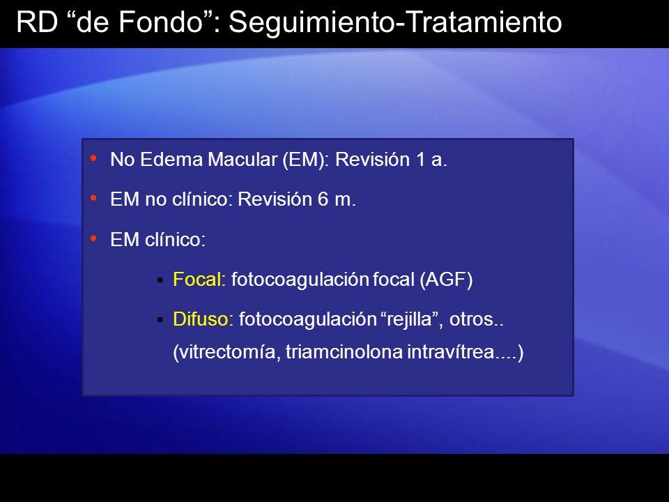 RD de Fondo: Seguimiento-Tratamiento No Edema Macular (EM): Revisión 1 a. EM no clínico: Revisión 6 m. EM clínico: Focal: fotocoagulación focal (AGF)