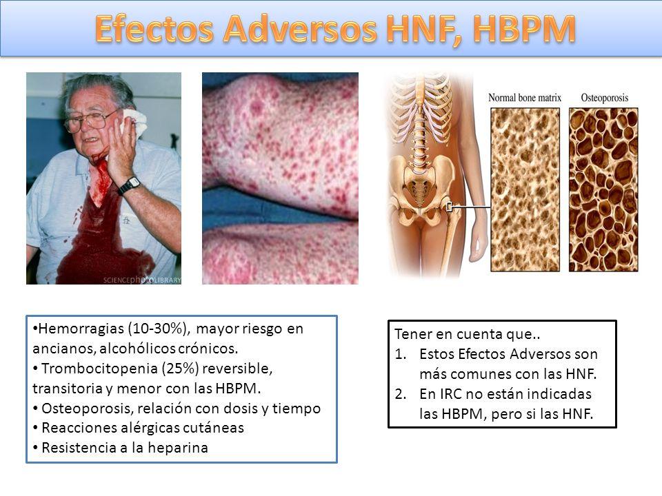 Hemorragias (10-30%), mayor riesgo en ancianos, alcohólicos crónicos. Trombocitopenia (25%) reversible, transitoria y menor con las HBPM. Osteoporosis