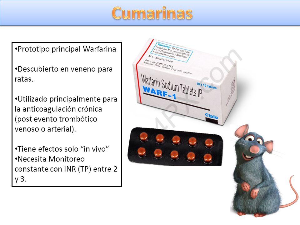Prototipo principal Warfarina Descubierto en veneno para ratas. Utilizado principalmente para la anticoagulación crónica (post evento trombótico venos