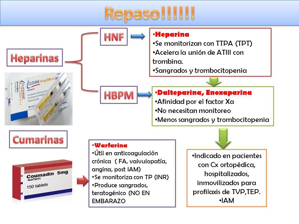 Dalteparina, Enoxaparina Afinidad por el factor Xa No necesitan monitoreo Menos sangrados y trombocitopenia Heparina Se monitorizan con TTPA (TPT) Ace