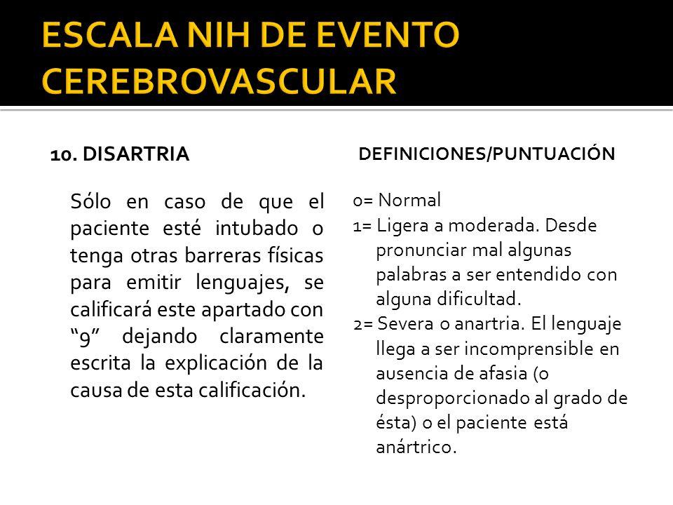10. DISARTRIA Sólo en caso de que el paciente esté intubado o tenga otras barreras físicas para emitir lenguajes, se calificará este apartado con 9 de