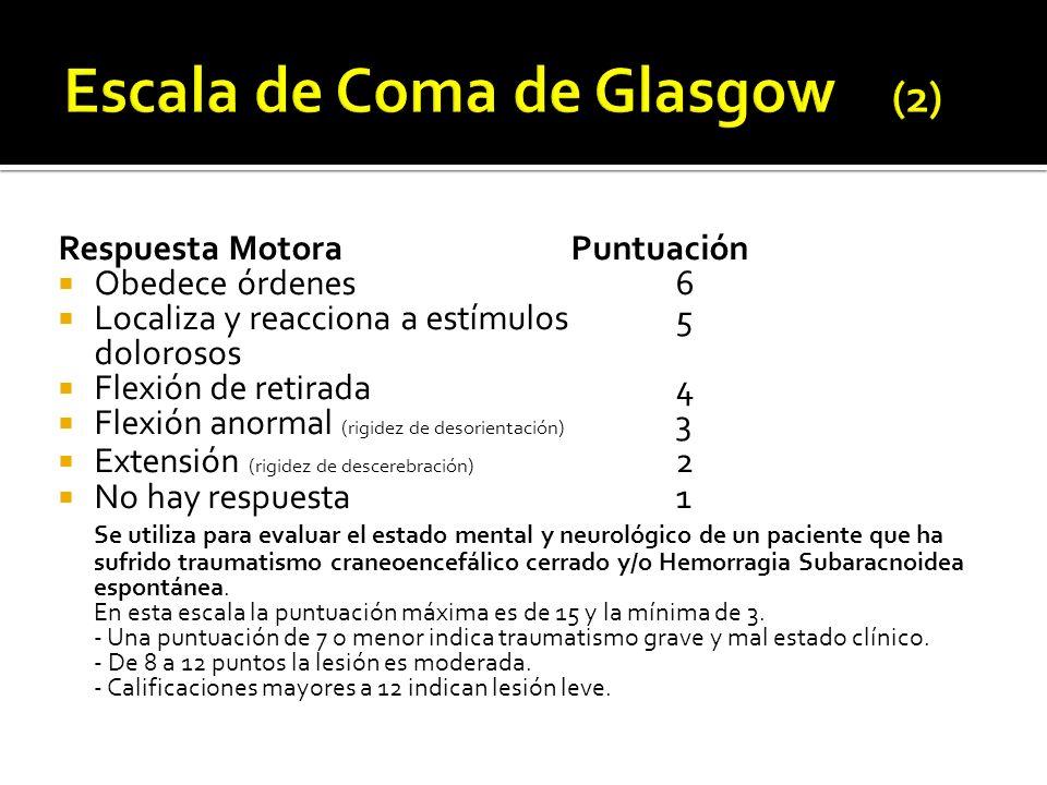 Respuesta MotoraPuntuación Obedece órdenes6 Localiza y reacciona a estímulos5 dolorosos Flexión de retirada4 Flexión anormal (rigidez de desorientació