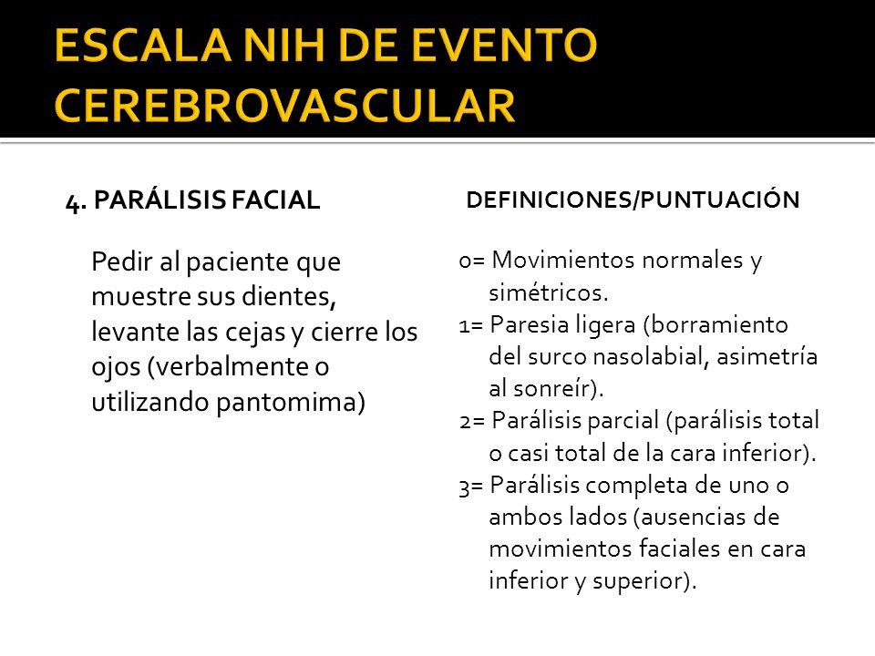 4. PARÁLISIS FACIAL Pedir al paciente que muestre sus dientes, levante las cejas y cierre los ojos (verbalmente o utilizando pantomima) DEFINICIONES/P