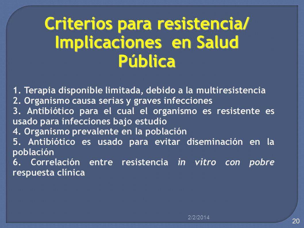 Criterios para resistencia/ Implicaciones en Salud Pública 1. Terapia disponible limitada, debido a la multiresistencia 2. Organismo causa serias y gr