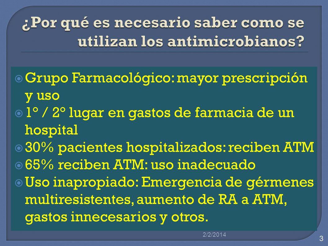 Grupo Farmacológico: mayor prescripción y uso 1° / 2° lugar en gastos de farmacia de un hospital 30% pacientes hospitalizados: reciben ATM 65% reciben