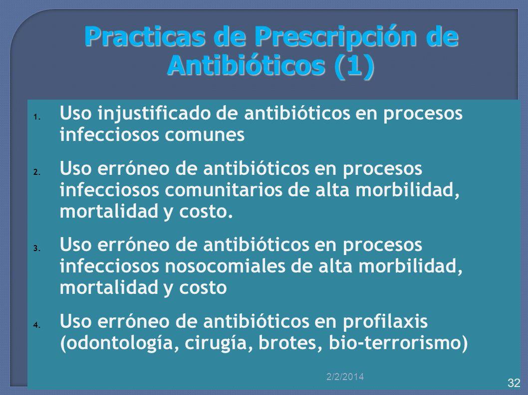 Practicas de Prescripción de Antibióticos (1) 1. Uso injustificado de antibióticos en procesos infecciosos comunes 2. Uso erróneo de antibióticos en p