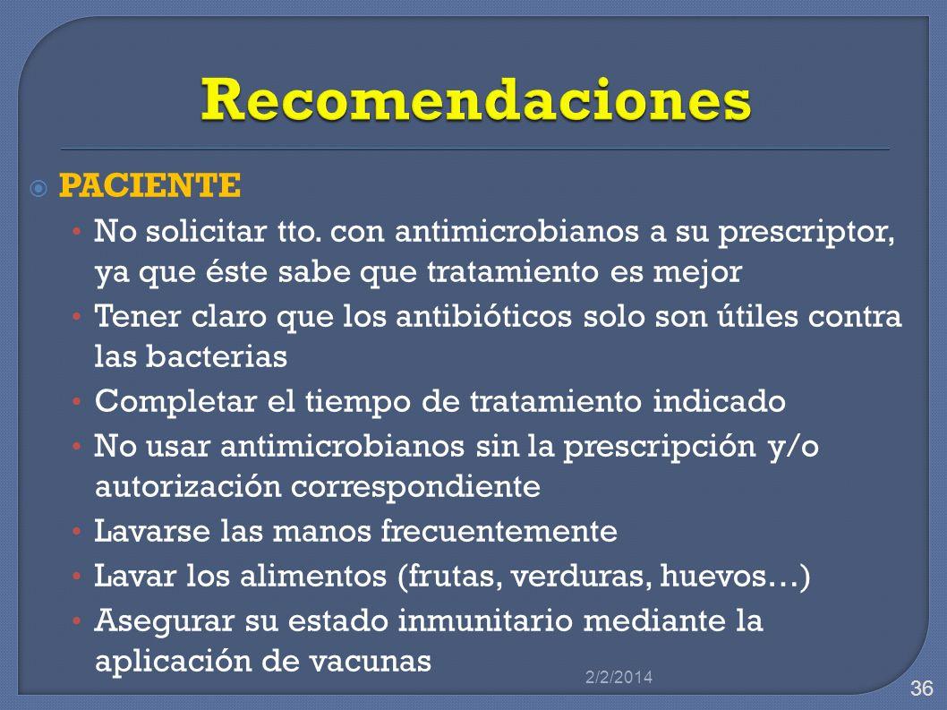 PACIENTE No solicitar tto. con antimicrobianos a su prescriptor, ya que éste sabe que tratamiento es mejor Tener claro que los antibióticos solo son ú