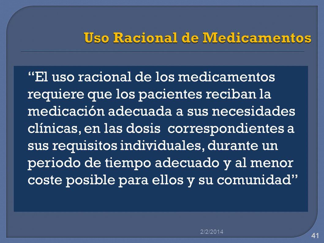 El uso racional de los medicamentos requiere que los pacientes reciban la medicación adecuada a sus necesidades clínicas, en las dosis correspondiente