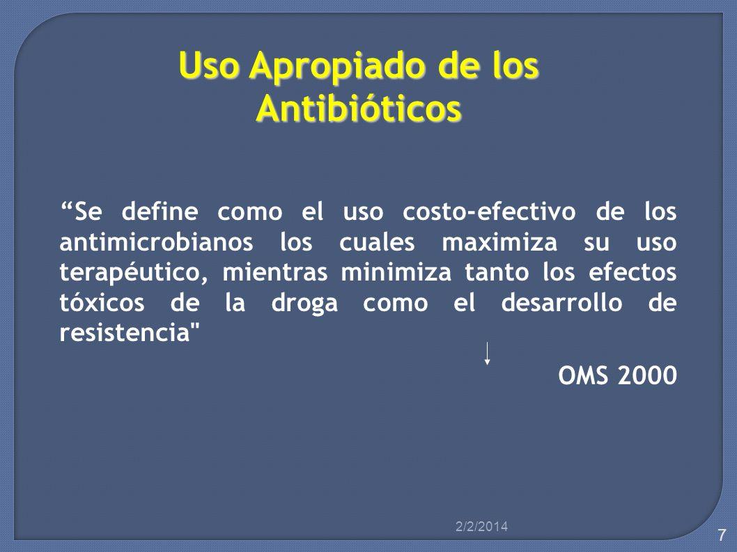 Uso Apropiado de los Antibióticos Se define como el uso costo-efectivo de los antimicrobianos los cuales maximiza su uso terapéutico, mientras minimiz