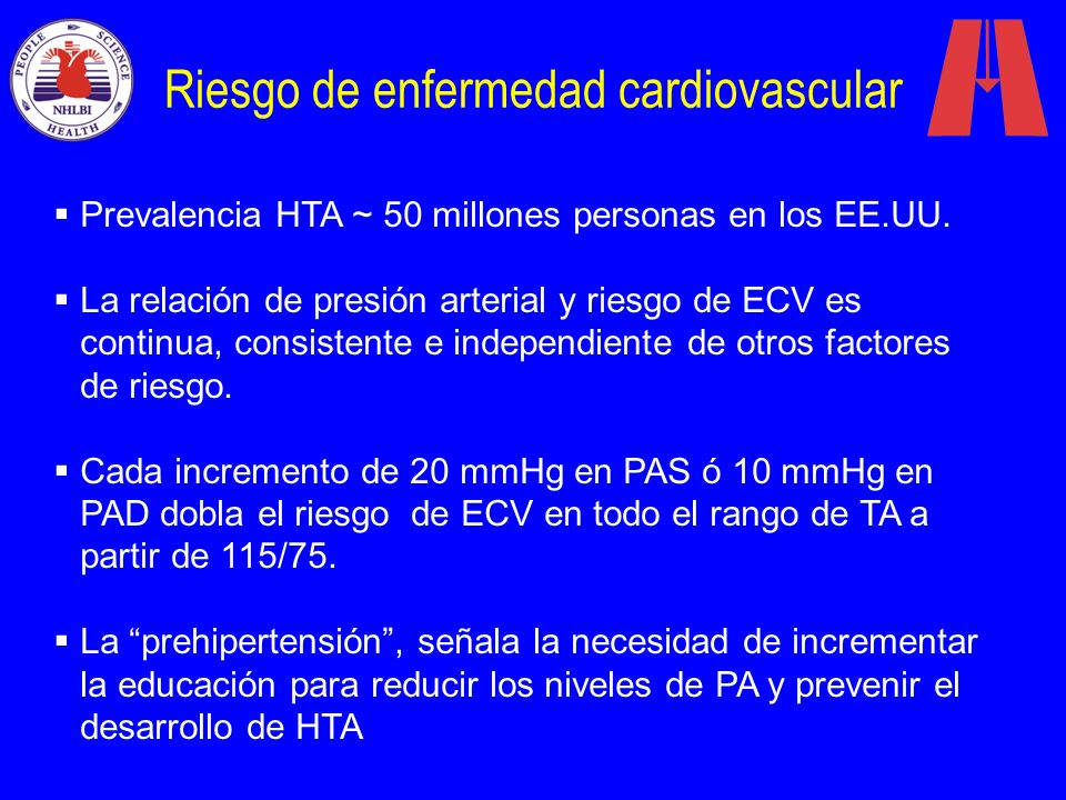 Riesgo de enfermedad cardiovascular Prevalencia HTA ~ 50 millones personas en los EE.UU. La relación de presión arterial y riesgo de ECV es continua,