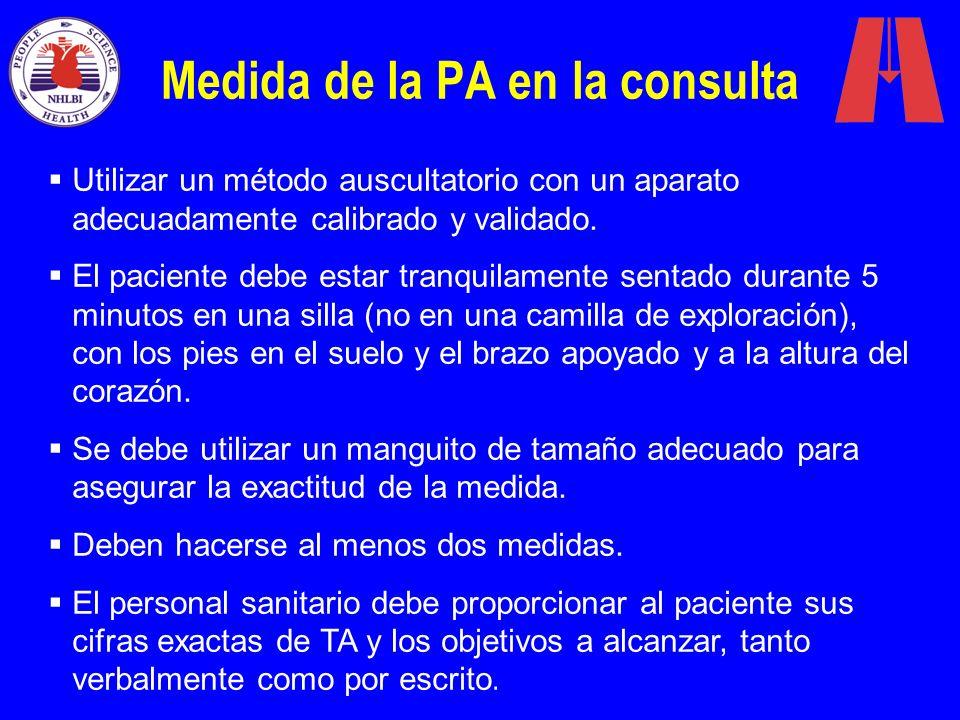 Medida de la PA en la consulta Utilizar un método auscultatorio con un aparato adecuadamente calibrado y validado. El paciente debe estar tranquilamen