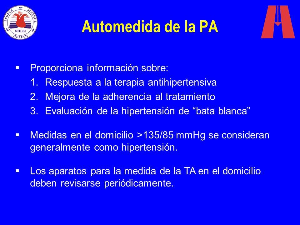 Automedida de la PA Proporciona información sobre: 1.Respuesta a la terapia antihipertensiva 2.Mejora de la adherencia al tratamiento 3.Evaluación de